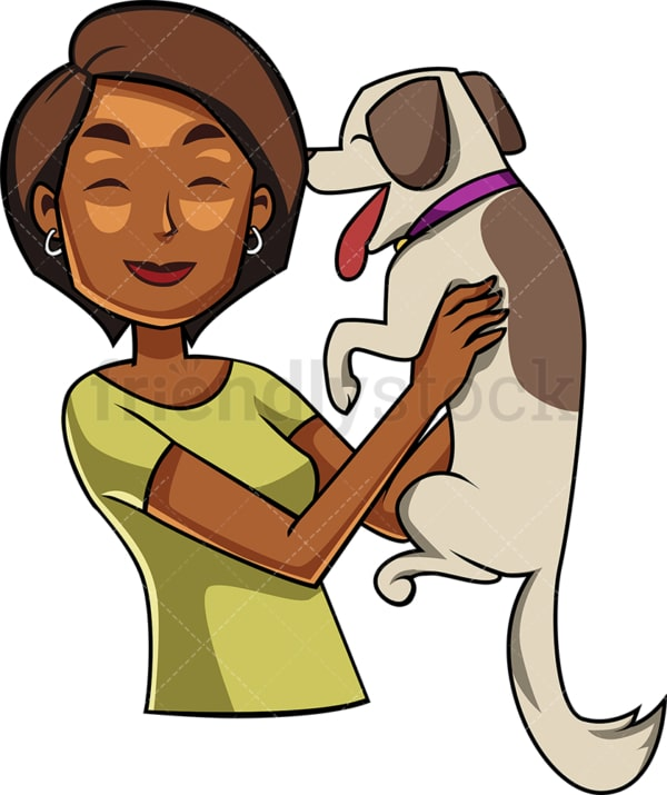 Happy black woman with dog. PNG - JPG and vector EPS file formats (infinitely scalable). Image isolated on transparent background.