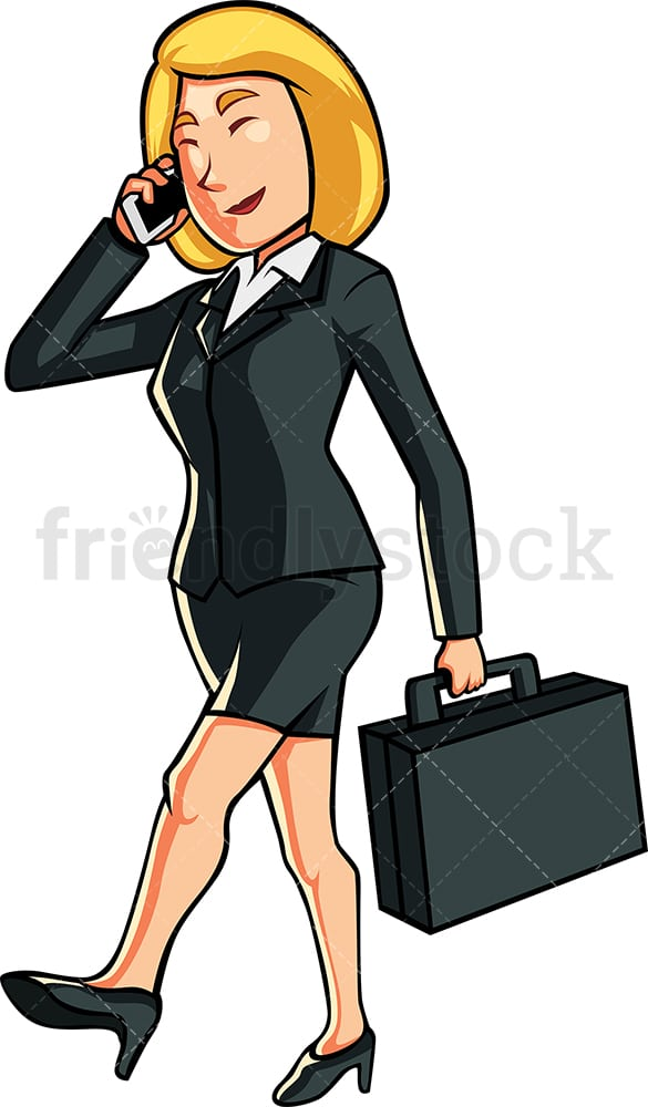 Happy businesswoman on the phone. PNG - JPG and vector EPS file formats (infinitely scalable). Image isolated on transparent background.