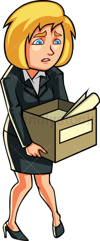 Laid off white-collar female executive. PNG - JPG and vector EPS file formats (infinitely scalable). Image isolated on transparent background.