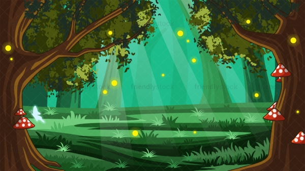 Magical forest background in 16:9 aspect ratio. PNG - JPG and vector EPS file formats (infinitely scalable).