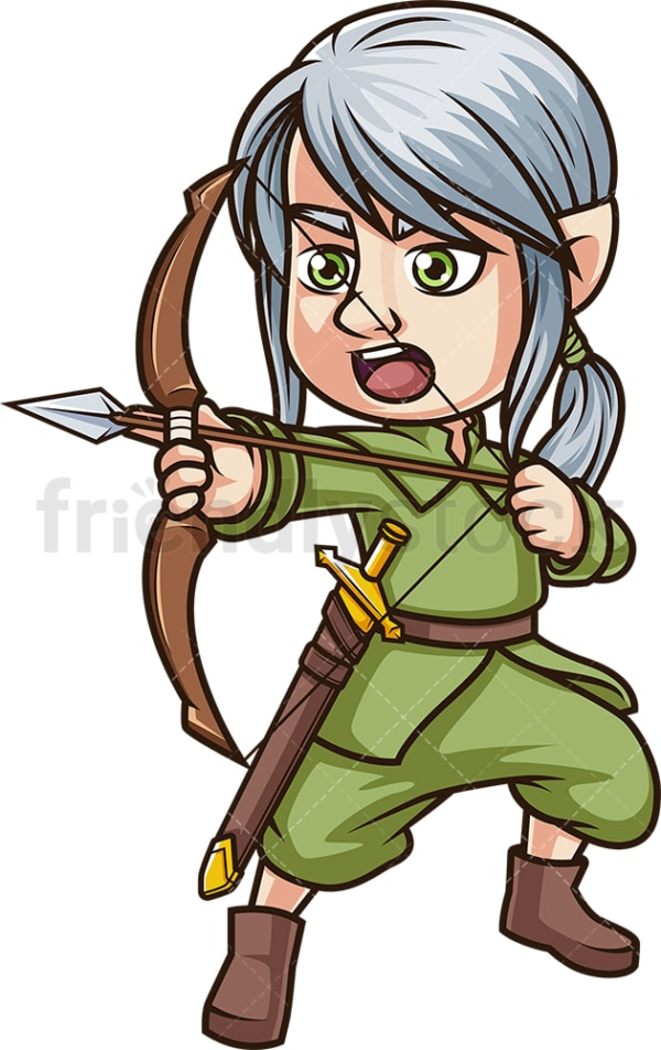 Male elf archer warrior. PNG - JPG and vector EPS (infinitely scalable).