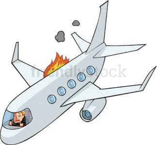 Man in plane crashing. PNG - JPG and vector EPS file formats (infinitely scalable). Image isolated on transparent background.