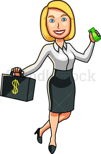 Rich woman holding wad of cash. PNG - JPG and vector EPS file formats (infinitely scalable). Image isolated on transparent background.