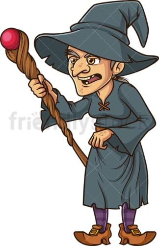Wicked witch casting spell with staff. PNG - JPG and vector EPS (infinitely scalable).