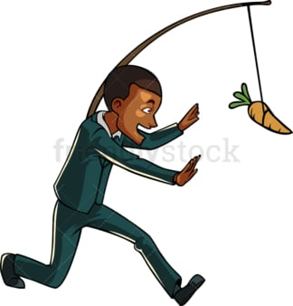 Black businessman after carrot on a stick. PNG - JPG and vector EPS file formats (infinitely scalable). Image isolated on transparent background.