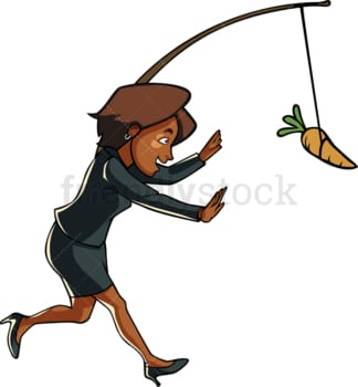 Black woman chasing carrot on a stick. PNG - JPG and vector EPS file formats (infinitely scalable). Image isolated on transparent background.