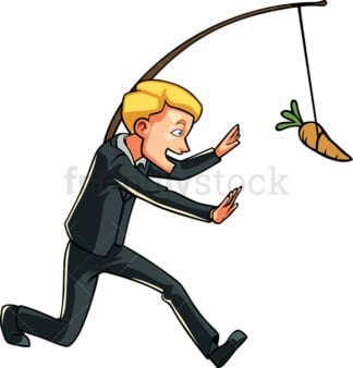 Businessman chasing carrot on a stick. PNG - JPG and vector EPS file formats (infinitely scalable). Image isolated on transparent background.