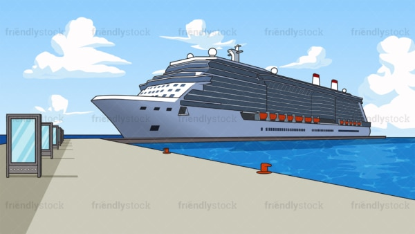 Cruise ship at the port background in 16:9 aspect ratio. PNG - JPG and vector EPS file formats (infinitely scalable).