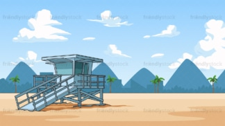 Lifeguard tower background in 16:9 aspect ratio. PNG - JPG and vector EPS file formats (infinitely scalable).