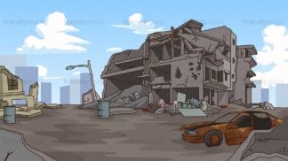 Destroyed ghost city background in 16:9 aspect ratio. PNG - JPG and vector EPS file formats (infinitely scalable).