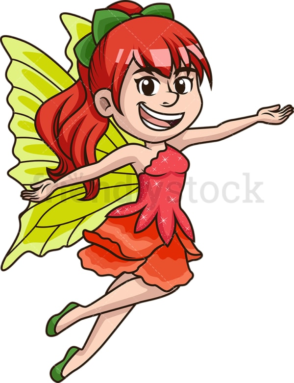 Adorable fairy with green wings. PNG - JPG and vector EPS (infinitely scalable).