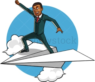 Black businessman flying paper plane. PNG - JPG and vector EPS file formats (infinitely scalable). Image isolated on transparent background.