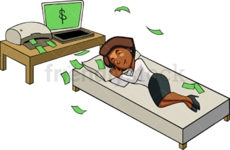 Black businesswoman making internet money. PNG - JPG and vector EPS file formats (infinitely scalable). Image isolated on transparent background.