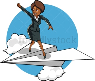 Black businesswoman on paper plane. PNG - JPG and vector EPS file formats (infinitely scalable). Image isolated on transparent background.