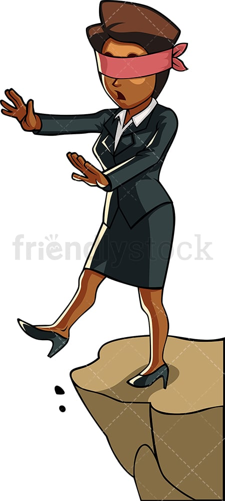 Black businesswoman with blindfold. PNG - JPG and vector EPS file formats (infinitely scalable). Image isolated on transparent background.