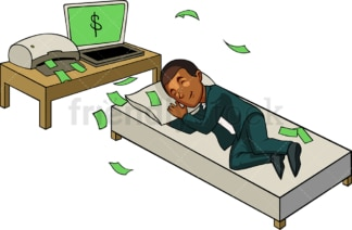 Black man making money while he sleeps. PNG - JPG and vector EPS file formats (infinitely scalable). Image isolated on transparent background.