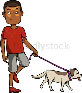 Black man walking his dog. PNG - JPG and vector EPS file formats (infinitely scalable). Image isolated on transparent background.