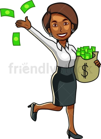 Black woman holding bag of cash. PNG - JPG and vector EPS file formats (infinitely scalable). Image isolated on transparent background.