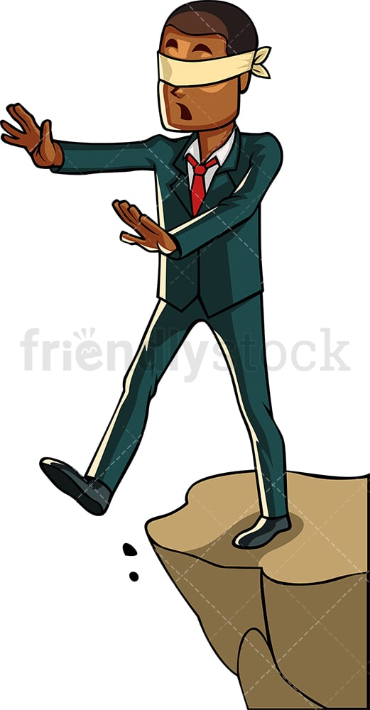 Blindfolded black businessman. PNG - JPG and vector EPS file formats (infinitely scalable). Image isolated on transparent background.