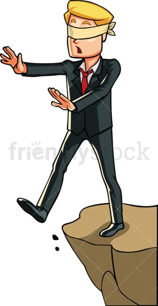Blindfolded businessman at a cliff. PNG - JPG and vector EPS file formats (infinitely scalable). Image isolated on transparent background.