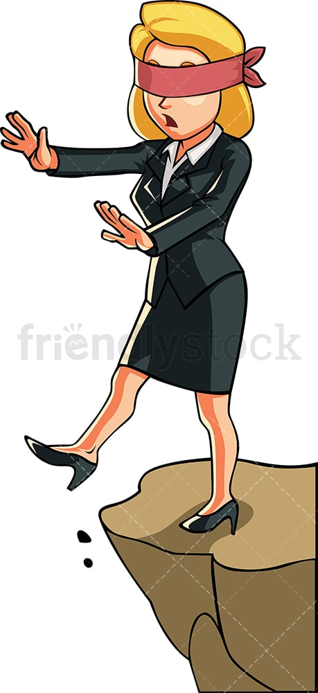 Blindfolded businesswoman. PNG - JPG and vector EPS file formats (infinitely scalable). Image isolated on transparent background.