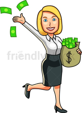 Business woman holding bag of cash. PNG - JPG and vector EPS file formats (infinitely scalable). Image isolated on transparent background.