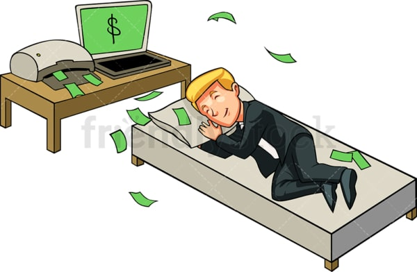 Businessman making money while sleeping. PNG - JPG and vector EPS file formats (infinitely scalable). Image isolated on transparent background.