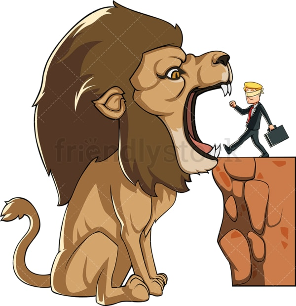Businessman walking into lion's mouth. PNG - JPG and vector EPS file formats (infinitely scalable). Image isolated on transparent background.