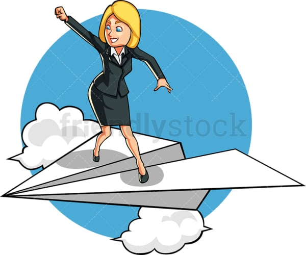 Businesswoman flying up in the sky. PNG - JPG and vector EPS file formats (infinitely scalable). Image isolated on transparent background.