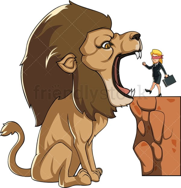 Businesswoman headed toward lion mouth. PNG - JPG and vector EPS file formats (infinitely scalable). Image isolated on transparent background.