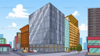 Downtown city street commercial buildings background in 16:9 aspect ratio. PNG - JPG and vector EPS file formats (infinitely scalable).