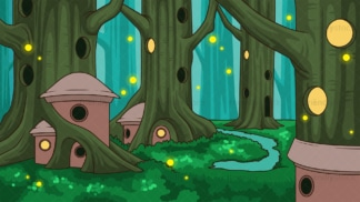 Elven forest background in 16:9 aspect ratio. PNG - JPG and vector EPS file formats (infinitely scalable).