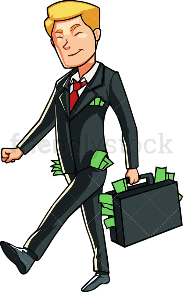Extremely rich business man. PNG - JPG and vector EPS file formats (infinitely scalable). Image isolated on transparent background.