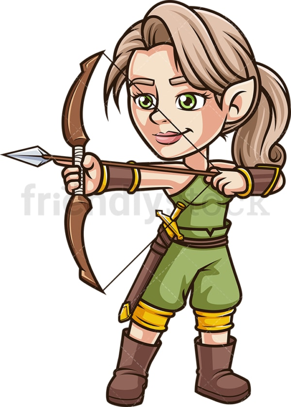 Female elf archer warrior. PNG - JPG and vector EPS (infinitely scalable).