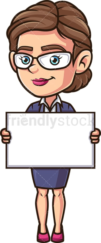 Female employee holding blank sign. PNG - JPG and vector EPS (infinitely scalable).