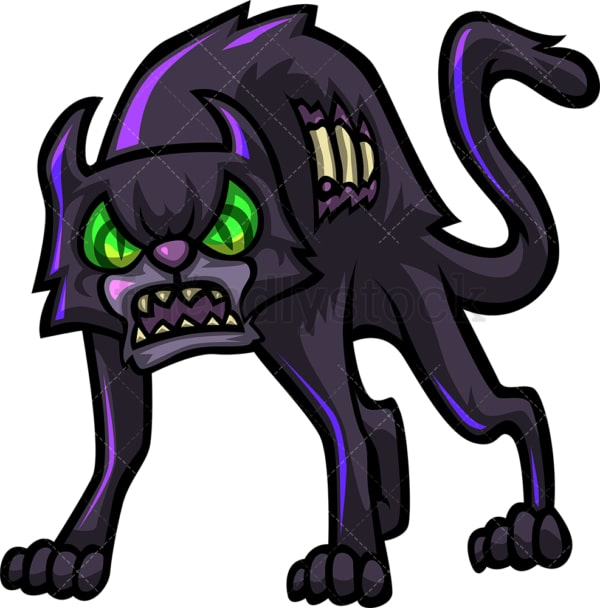 Fierce cat zombie. PNG - JPG and vector EPS (infinitely scalable).