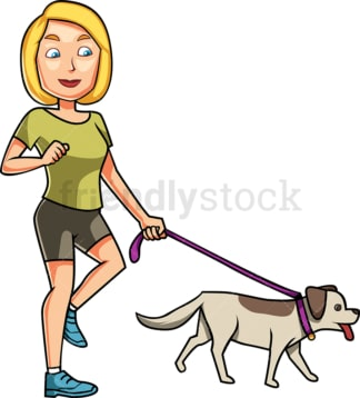 Fit woman walking her dog. PNG - JPG and vector EPS file formats (infinitely scalable). Image isolated on transparent background.