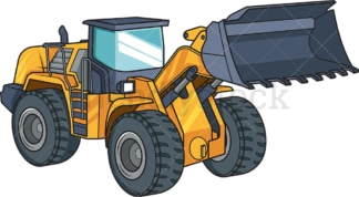 Front loader construction vehicle. PNG - JPG and vector EPS file formats (infinitely scalable). Image isolated on transparent background.