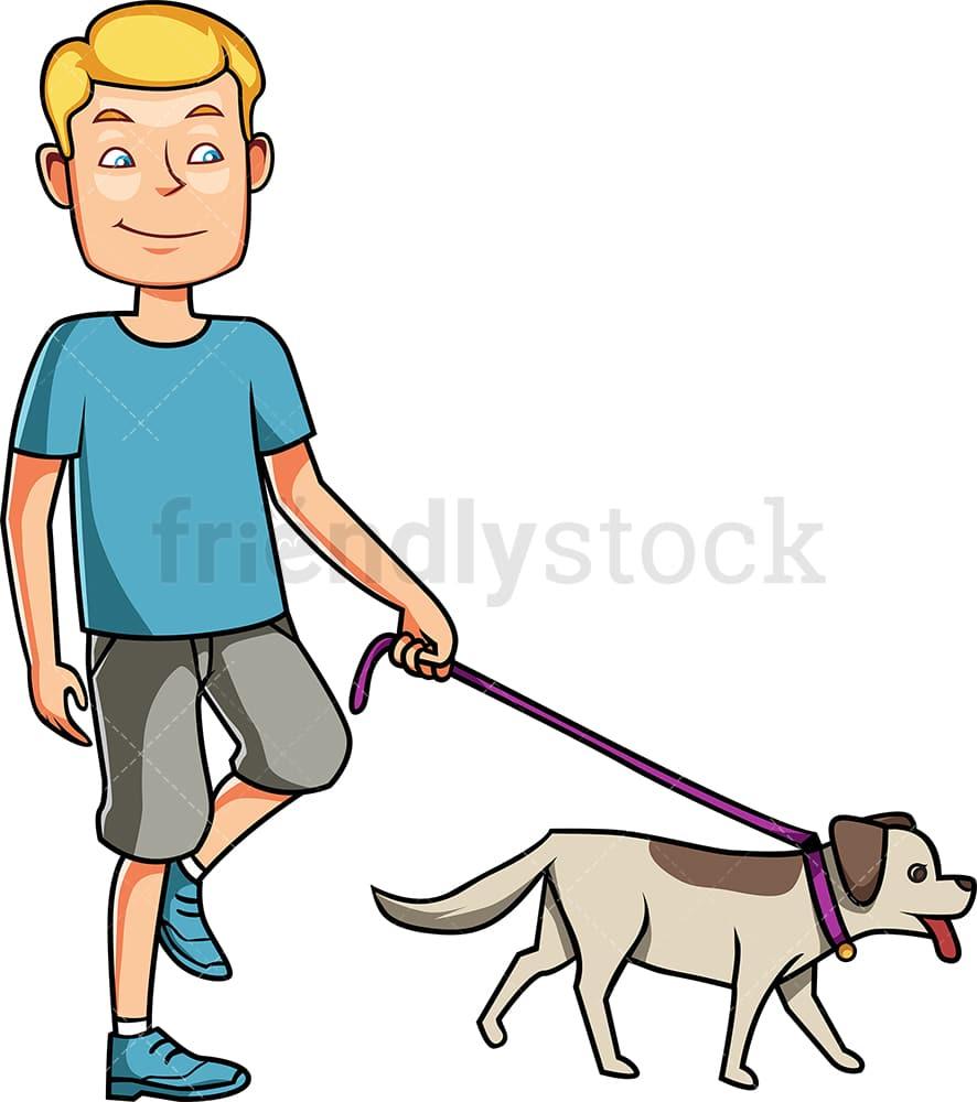 Man Walking His Dog On A Leash Cartoon Vector Clipart ...