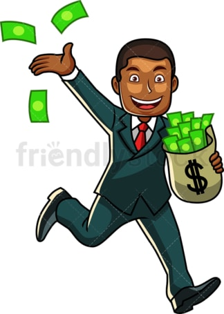 Rich black businessman with bag of cash. PNG - JPG and vector EPS file formats (infinitely scalable). Image isolated on transparent background.