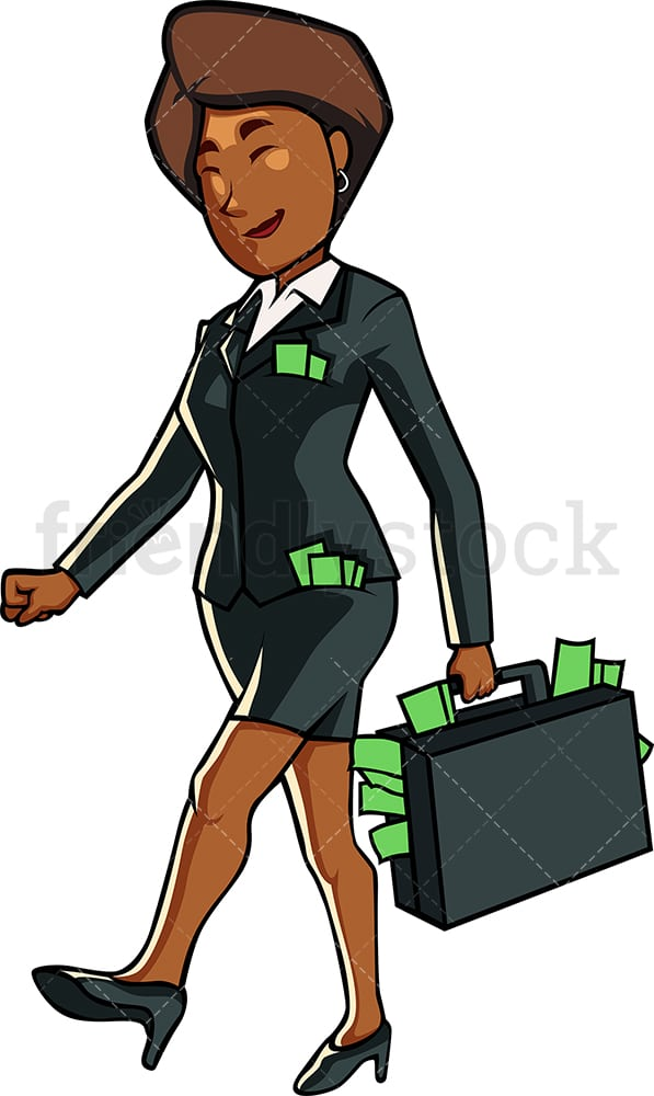 Rich black businesswoman big pockets. PNG - JPG and vector EPS file formats (infinitely scalable). Image isolated on transparent background.