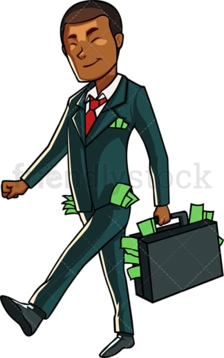 Successful black businessman with cash. PNG - JPG and vector EPS file formats (infinitely scalable). Image isolated on transparent background.