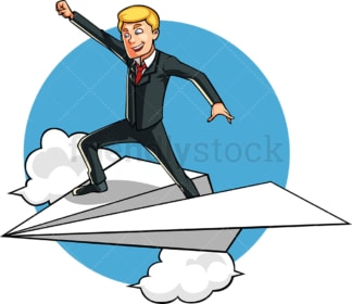Successful businessman atop paper plane. PNG - JPG and vector EPS file formats (infinitely scalable). Image isolated on transparent background.