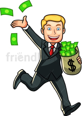 Wealthy businessman tossing cash around. PNG - JPG and vector EPS file formats (infinitely scalable). Image isolated on transparent background.