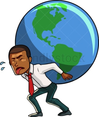 Black businessman carrying the world. PNG - JPG and vector EPS file formats (infinitely scalable). Image isolated on transparent background.