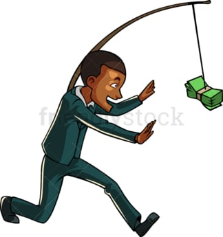 Black businessman chasing cash on stick. PNG - JPG and vector EPS file formats (infinitely scalable). Image isolated on transparent background.