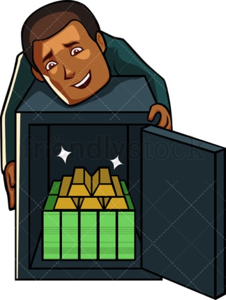 Black businessman showing off fortune. PNG - JPG and vector EPS file formats (infinitely scalable). Image isolated on transparent background.