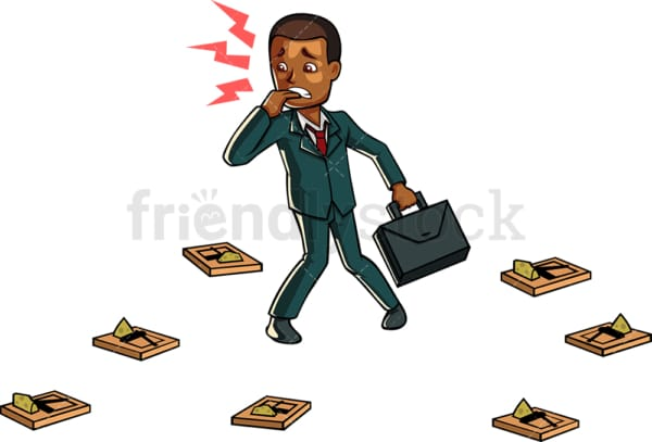Black businessman surrounded by mouse traps. PNG - JPG and vector EPS file formats (infinitely scalable). Image isolated on transparent background.