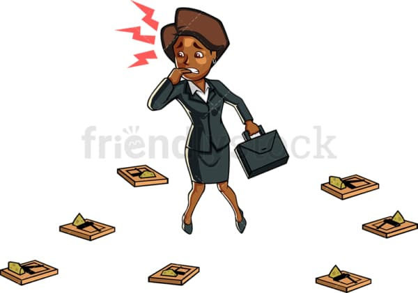 Black businesswoman cornered by traps. PNG - JPG and vector EPS file formats (infinitely scalable). Image isolated on transparent background.
