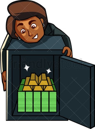 Black businesswoman with rich safe. PNG - JPG and vector EPS file formats (infinitely scalable). Image isolated on transparent background.